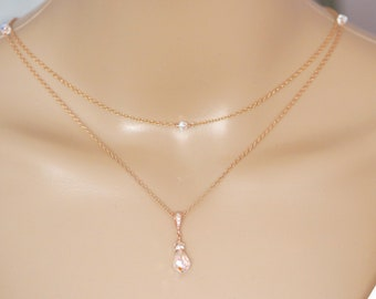 Layer necklace with backdrop chains, Bridal backdrop rose gold, Sterling silver, with Swarovski crystals, pearls, in your colour choice