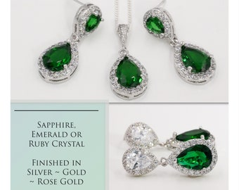 Emerald, sapphire or ruby crystal earrings, with pendant, Prom or wedding earrings, bridal jewelry, mother  bride, Prom earrings