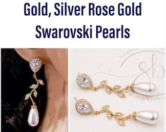 leaf vine bridal wedding earrings, swarovski pearls, Cubic zirconia,
