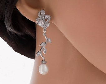 Clip on or pierced, Pearl drop flower leaf vine earrings in silver or rose gold, perfect bridal jewellery