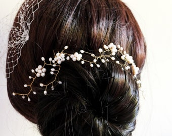 Real pearl hair pin, versatile for many styles, with leaf and flower vine arms finished in gold, rose gold or silver