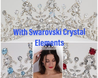 Sparkling crystal bridal tiara with Swarovski  crystal elements, Silver, Gold or rose gold,  hair accessory, pageant headdress,