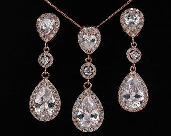 Rose gold crystal earrings, pendant set, with halos of cubic zirconia, pear drop, gold, Custom bridal jewelry, Bridesmaid, bride gift,