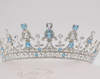 crystal tiara, ice queen, frozen, silver, gold, Swarovski, sweet 16, quinceanera, Bridal, prom, hair accessory, pageant headdress,