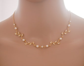 Silver, rose gold, Leaf vine Swarovski pearl bridal necklace, with optional backdrop chain,