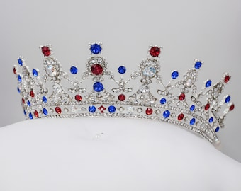 Swarovski crystal - patriotic tiara, custom colours, finished in silver, Independence Day , LGBQT, gay pride festival, carnival