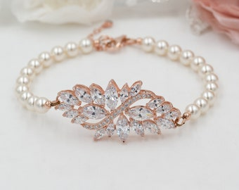 Rose gold or silver, leaf Crystal and pearl bridal bracelet, with swarovski pearls, made to measure