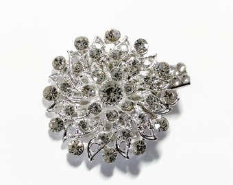 Flower hair clip with crystal rhinestones and Swarovski Crystal, bridal veil or prom accessory