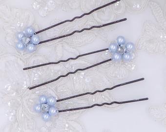 Pearl flower hair pins, any colour,  bridesmaids, Bride, crystal Bobby pin, , blush  blue, bride hair bridesmaid flower girl,
