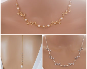 Leaf vine necklace, backdrop, earrings with Swarovski pearls, bridal necklace, rose gold, gold or silver