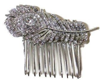 Silver peacock Feather hair comb, Vintage, Art Deco style, with diamanté rhinestone crystal, Great gatsby,