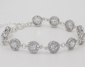silver or rose gold crystal bracelet, with sparkling cubic zirconia, perfect fo bridal or prom glam