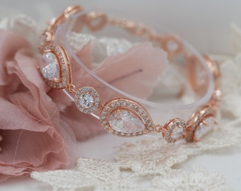 Crystal cubic zirconia bracelet, finished in silver, gold or rose gold, perfect for bridal or prom sparkling glam