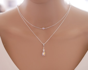 layered crystal or pearl necklace, choker and pendant with optional backdrop chain, finished in silver or rose gold