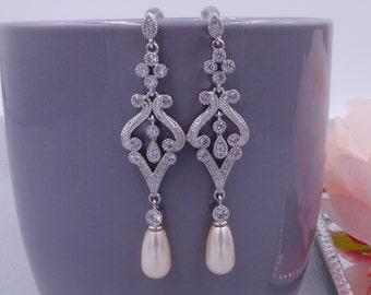 Swarovski pearl drop earrings, vintage style, pave set, Cream,  bridal earrings, 1920's, wedding, mother  bride,
