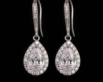 Bridal crystal drop earrings, finished in silver, gold, rose gold, gift boxed