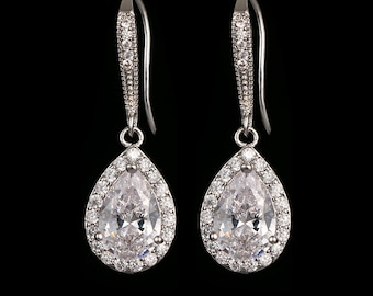 Teardrop crystal drop earrings, finished in silver, gold, rose gold, gift boxed