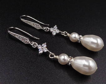 Pearl drop and crystal earrings, silver or rose gold, cubic zirconia silver, Bridal jewelry, cream, mother of the bride, Prom earrings
