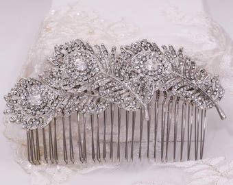 Peacock rhinestone feather hair comb, triple, double, single, Vintage 1920's , 1940's Bride veil clip, wedding hair piece, wedding hair