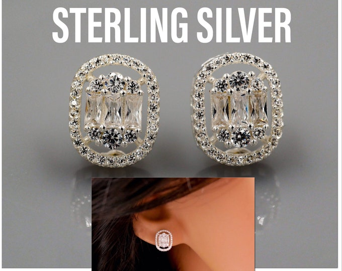 Featured listing image: Sterling silver, cushion cut earrings, Crystal cubic zirconia, stud cute tiny diamond like earrings,