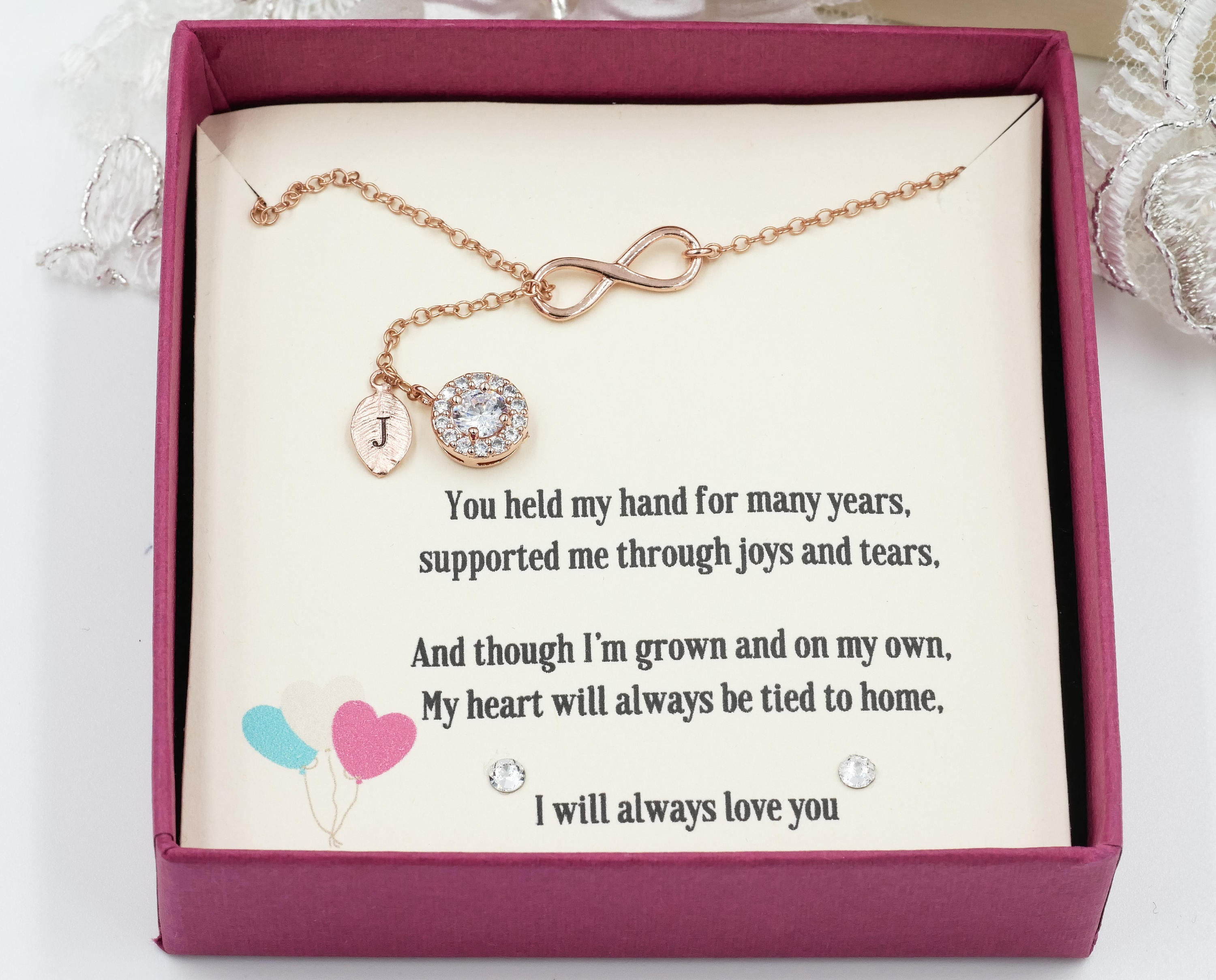 Personalised gift box, keepsake for necklace, mother of the bride ...