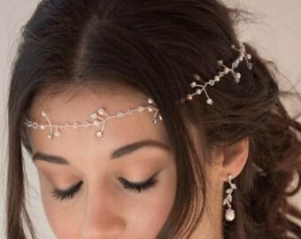 Bridal hair vine, long hair wrap, Swarovski pearl, crystal, gold, silver, crown, bun, wedding accessories, accessory, bride hair accessory