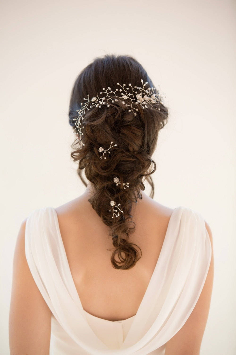 Bridal Pearl And Crystal Hair Vine Ivory Or Blush Piece Gold Or