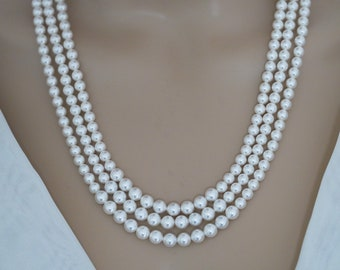 Swarovski Pearl Triple strand pearl necklace,  vintage style layered, silver, gold or rose gold, Made to your measure and your colours