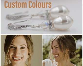 Pearl drop earrings, bridal, rose gold, yellow gold or silver, with Swarovski crystal and with pave set cubic zirconia hooks,