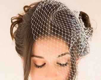 Birdcage blusher veil, haircomb, crystal veil, , black, great gatsby, pearls Vintage style, Russian net, Bride, wedding hair