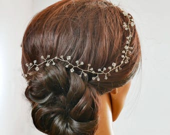 crystal hair vine, Swarovski, gold, silver, green, blush, Garland, crown, boho, wedding accessories, accessory, bride hair accessory