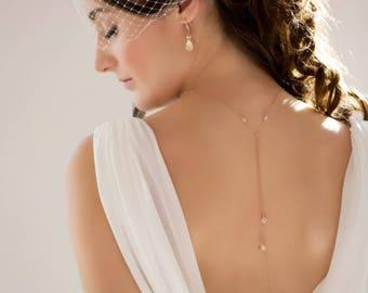 Bridal Backdrop necklace, rose gold, Silver, gold, Swarovski crystal and pearl, wedding bridal, Gatsby, vintage inspired for Choker, brides,