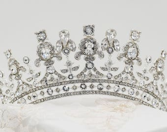 Swarovski crystal tiara, gold, silver, queen Elizabeth, princess, any colour Bridal head piece, prom, hair accessory, pageant headdress,