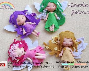 Green fairy pdf pattern Felt doll pattern Cute Fairy PDF Pattern garden fairies pattern Felt fairy pdf pattern tutorial pdf pattern