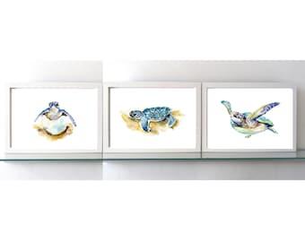 Sea turtle Art - Turtle Watercolor - set of 3 Prints  - Nursery animal Painting - baby animal - baby turtle - cute animals
