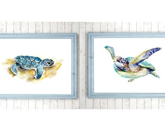 Sea turtle Art - baby and mother Turtle Watercolor - set of 2 Prints  - Nursery animal Painting - baby animal - baby turtle - cute animals