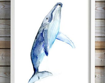 Baby humpback whale Art - baby whale watercolor painting - print - Nursery sea animals - ocean art - whale painting  blue decor whale art