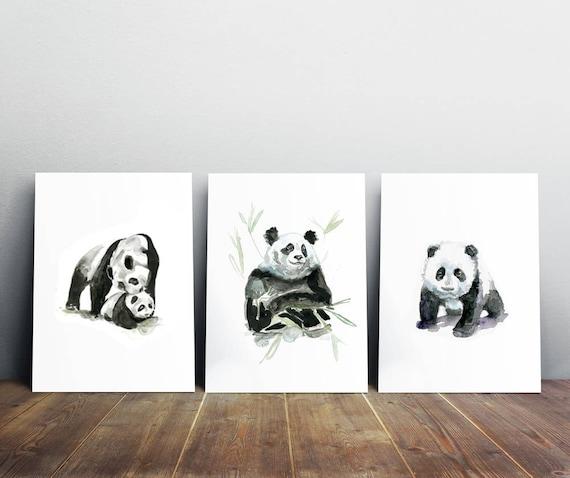 Arte de Panda Juego de 3 bebé panda bear acuarela arte