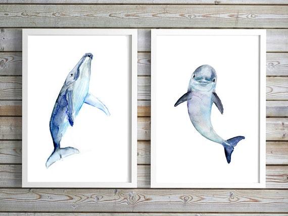 Delfín bebé arte acuarela de ballena bebé pintura grabados | Etsy