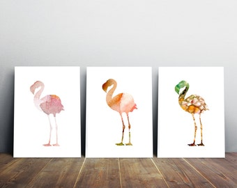 Set of 3 flamingo watercolor illustrations - giclee Prints  fantasy green Pink - Nursery Animal Painting -  aquarelle flamingo Wall Decor