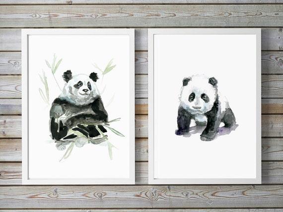 Arte oso panda set de 2 bebé oso panda acuarela | Etsy