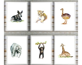 Set of 6 African baby animals - Watercolor painting - Art Prints - Nursery room - giraffe chimpanzee lion cub okapi ostrich elephant art