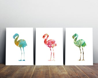 Set of 3 flamingo watercolor illustrations - giclee Prints  Orange green Pink - Nursery Animal Painting -  aquarelle decor Wall Decor art -