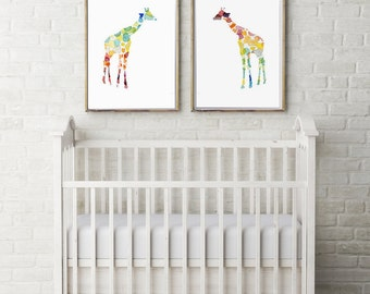 Set of 2 Giraffe Watercolor painting - Giclee Prints - Home Decor Wall Decor - dotted Nursery Art - Animal Painting - Giraffe Art