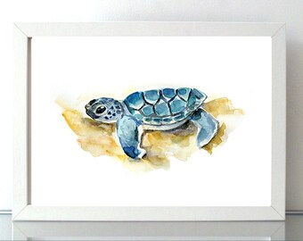 Baby animal - Turtle art - baby turtle Watercolor painting - Art Print -  Animal nursery - sea turtle - beach art - yellow blue