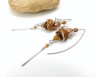 Ethnic earrings beige Brown, stone, bone, surgical steel (GC13)