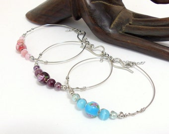 Semi rigid bracelets, glass beads and stainless steel (BR1)