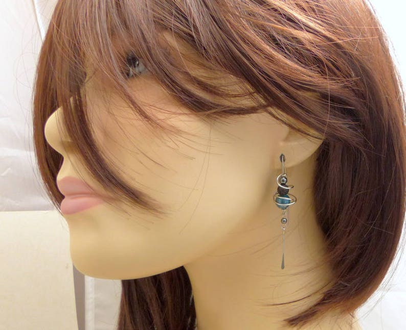 Earrings Blue ceramic hooks stone and surgical steel GC6