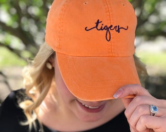 5cd75926efa80 Tigers Handwriting Script Baseball Hat - Clemson Tigers - Tigers Football -  Clemson Fan -Tiger Mascot