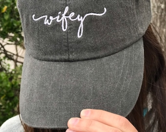 Wifey Handwriting Script Baseball Cap - Engagement Gifts - Honeymoon Hats -  Bridal Shower Gifts 505770eb845